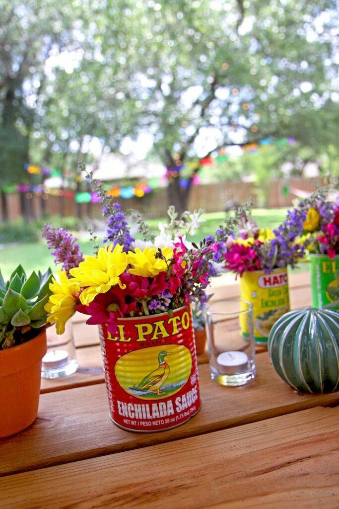 """El Pato Floral Can from a Cinco """"en"""" Mayo 5th Birthday Fiesta on Kara's Party Ideas   KarasPartyIdeas.com"""