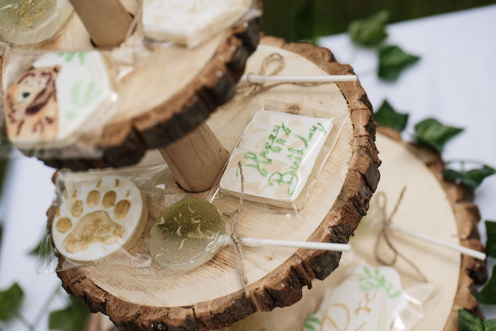 Woodland Themed Cookies + Lollies from an Eco-friendly Enchanted Woodland Party on Kara's Party Ideas | KarasPartyIdeas.com