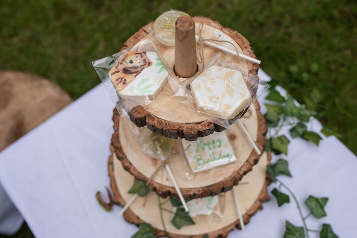 Wood Stump-tiered Dessert Platter from an Eco-friendly Enchanted Woodland Party on Kara's Party Ideas | KarasPartyIdeas.com