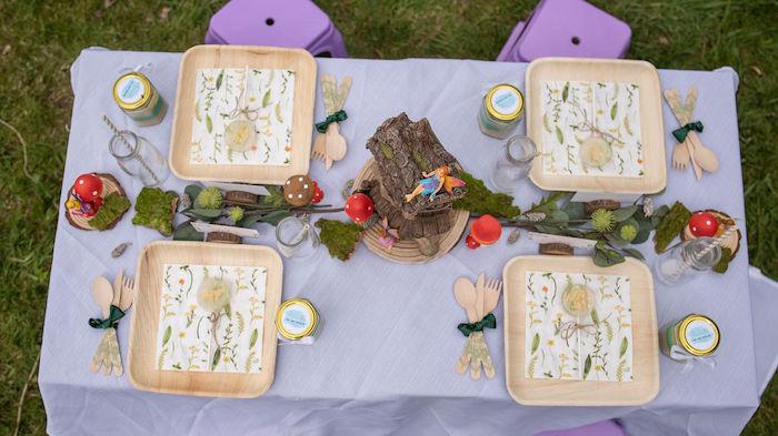 Woodland Themed Kid Table from an Eco-friendly Enchanted Woodland Party on Kara's Party Ideas | KarasPartyIdeas.com