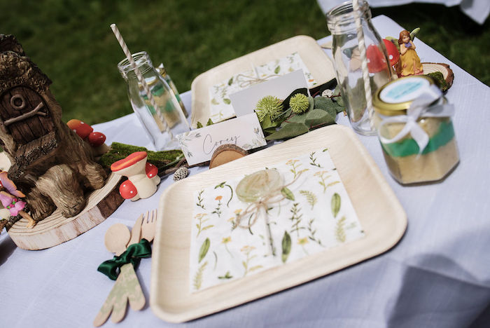 Woodland Table Setting + Guest Table from an Eco-friendly Enchanted Woodland Party on Kara's Party Ideas | KarasPartyIdeas.com
