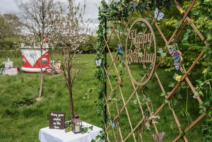 Woodland Birthday Backdrop from an Eco-friendly Enchanted Woodland Party on Kara's Party Ideas | KarasPartyIdeas.com