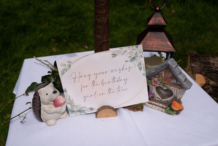 Woodland Wishes Table from an Eco-friendly Enchanted Woodland Party on Kara's Party Ideas | KarasPartyIdeas.com