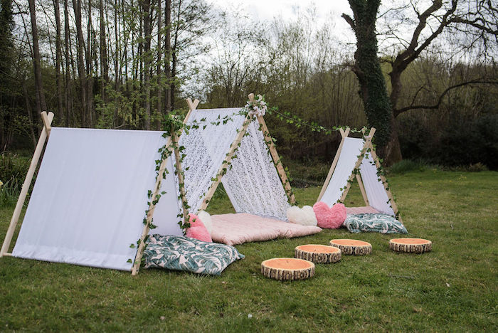 Woodland Tents from an Eco-friendly Enchanted Woodland Party on Kara's Party Ideas | KarasPartyIdeas.com