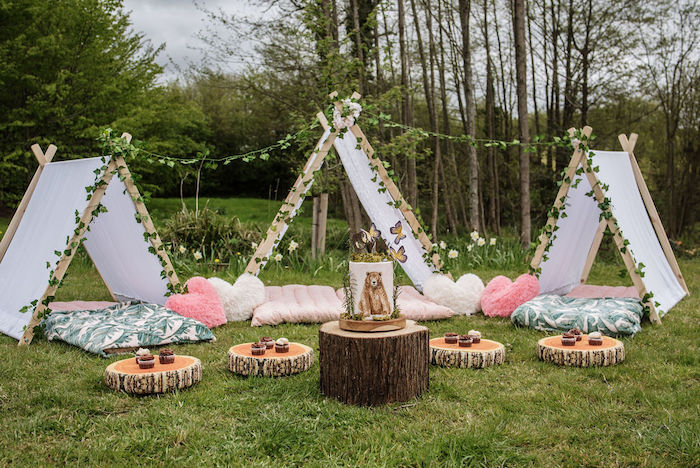 Woodland Tentscape from an Eco-friendly Enchanted Woodland Party on Kara's Party Ideas | KarasPartyIdeas.com