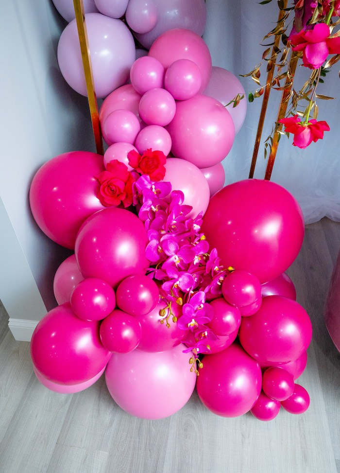 Floral Balloon Install from a Fifty & Fabulous Birthday Party on Kara's Party Ideas | KarasPartyIdeas.com