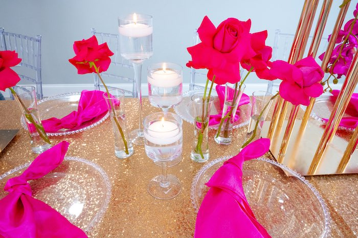 Glam Pink and Red Guest Table from a Fifty & Fabulous Birthday Party on Kara's Party Ideas | KarasPartyIdeas.com