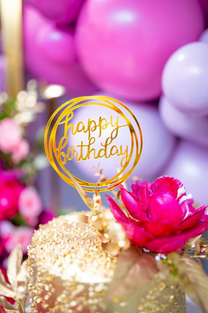 Glam Happy Birthday Cake Topper from a Fifty & Fabulous Birthday Party on Kara's Party Ideas | KarasPartyIdeas.com