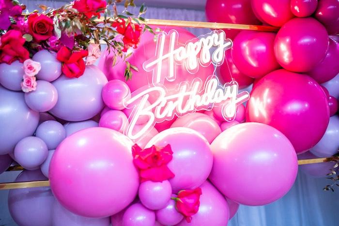 Neon Happy Birthday Sign from a Fifty & Fabulous Birthday Party on Kara's Party Ideas | KarasPartyIdeas.com