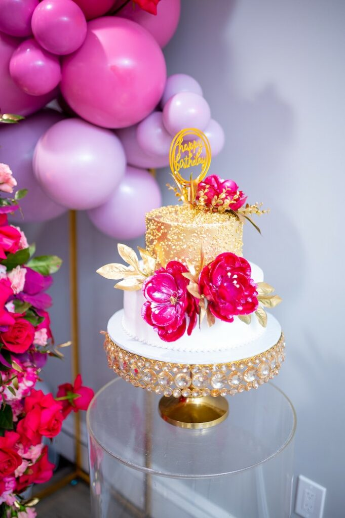 Gold + Pink + White Cake from a Fifty & Fabulous Birthday Party on Kara's Party Ideas | KarasPartyIdeas.com
