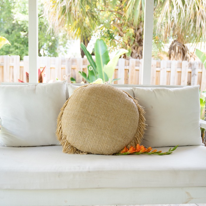 Lounge from a Glam Tropical Backyard Pool Party on Kara's Party Ideas | KarasPartyIdeas.com
