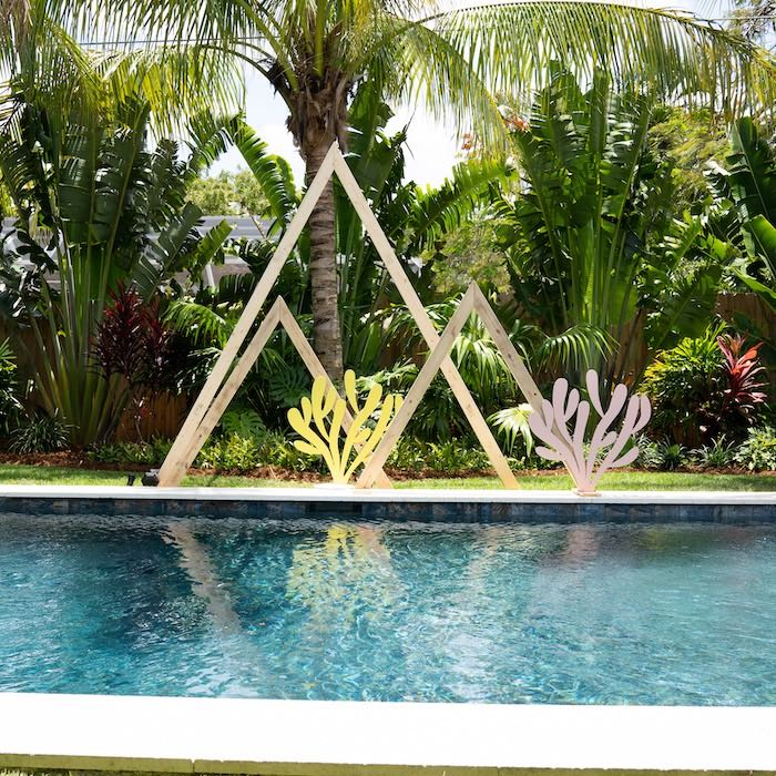 Wood Decor from a Glam Tropical Backyard Pool Party on Kara's Party Ideas | KarasPartyIdeas.com