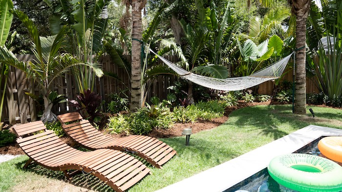 Lounge Chairs + Hammock from a Glam Tropical Backyard Pool Party on Kara's Party Ideas | KarasPartyIdeas.com