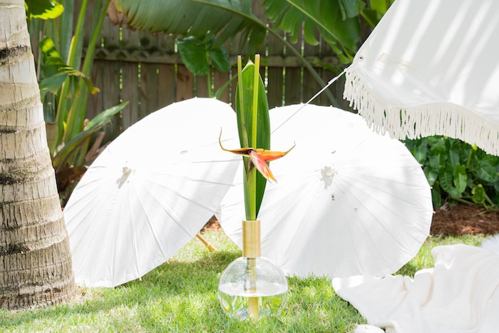 White Parasols from a Glam Tropical Backyard Pool Party on Kara's Party Ideas | KarasPartyIdeas.com