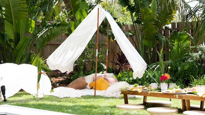 Tropical Lounge Tent from a Glam Tropical Backyard Pool Party on Kara's Party Ideas | KarasPartyIdeas.com