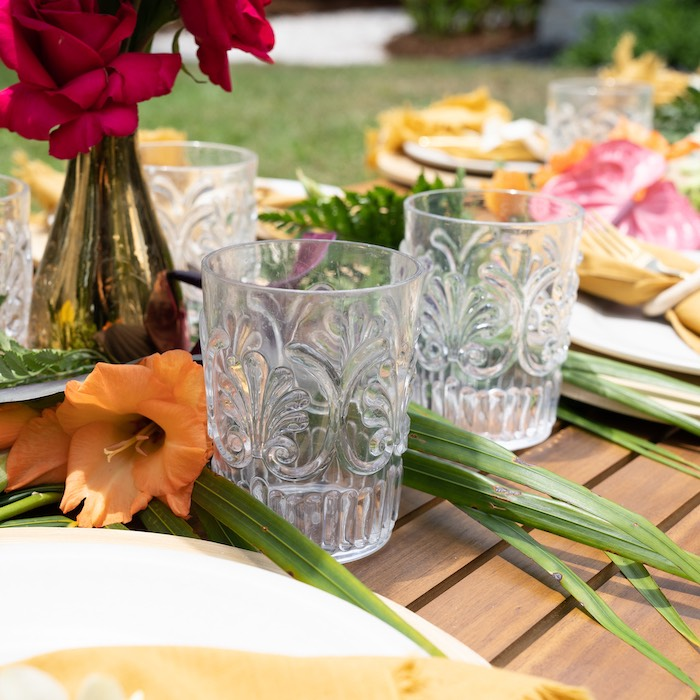 Drink Glasses from a Glam Tropical Backyard Pool Party on Kara's Party Ideas | KarasPartyIdeas.com
