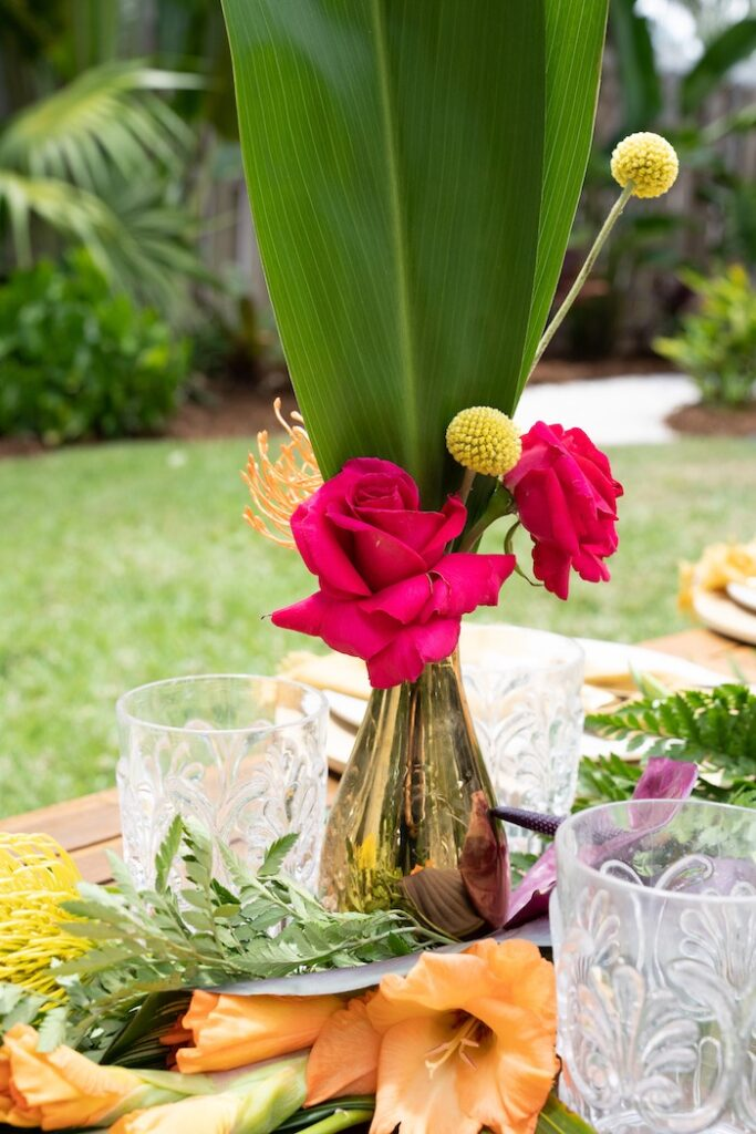 Tropical Blooms from a Glam Tropical Backyard Pool Party on Kara's Party Ideas | KarasPartyIdeas.com