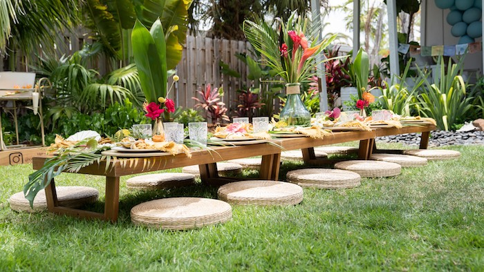 Tropical Guest Table from a Glam Tropical Backyard Pool Party on Kara's Party Ideas | KarasPartyIdeas.com