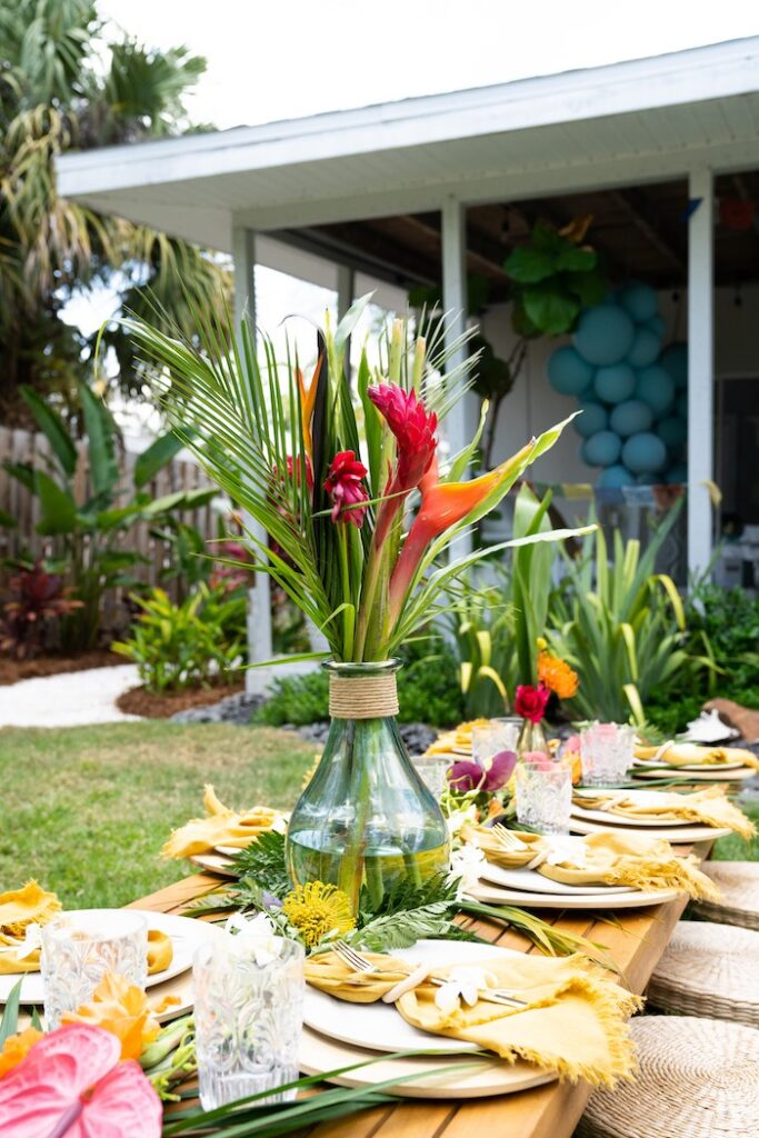 Tropical Guest Tablescape from a Glam Tropical Backyard Pool Party on Kara's Party Ideas | KarasPartyIdeas.com