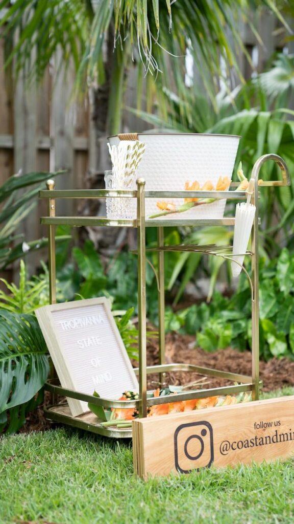 Bar Cart from a Glam Tropical Backyard Pool Party on Kara's Party Ideas | KarasPartyIdeas.com