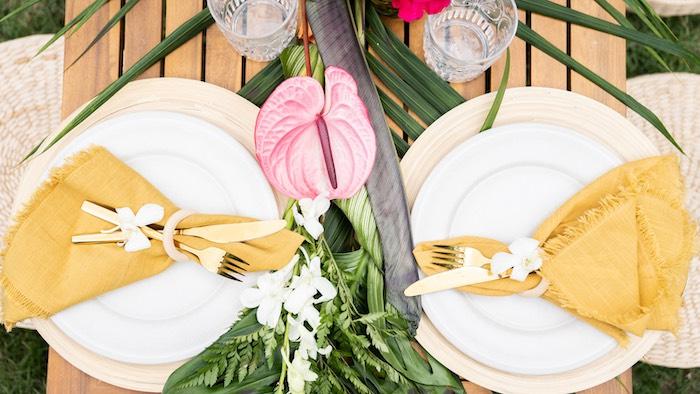 Tropical Table Settings from a Glam Tropical Backyard Pool Party on Kara's Party Ideas | KarasPartyIdeas.com