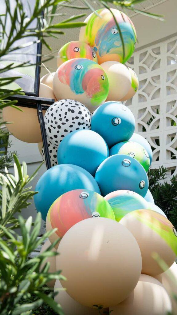 Tropical Balloon Install from a Glam Tropical Backyard Pool Party on Kara's Party Ideas | KarasPartyIdeas.com