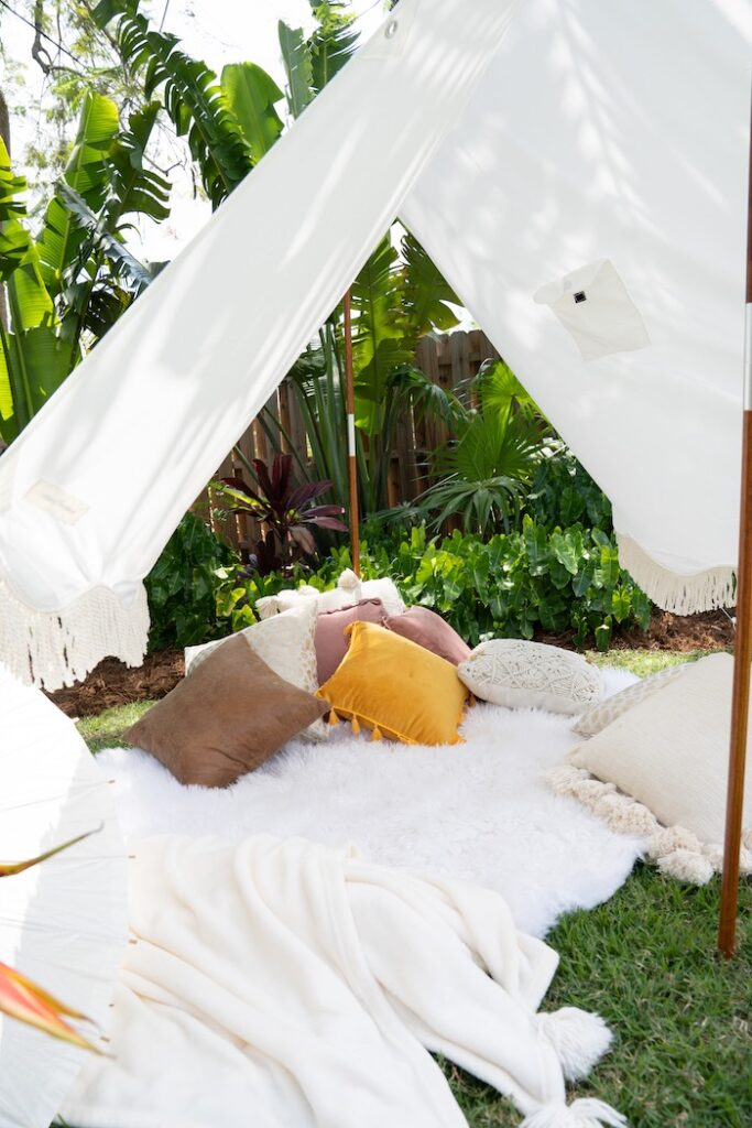 Tent Lounge from a Glam Tropical Backyard Pool Party on Kara's Party Ideas | KarasPartyIdeas.com