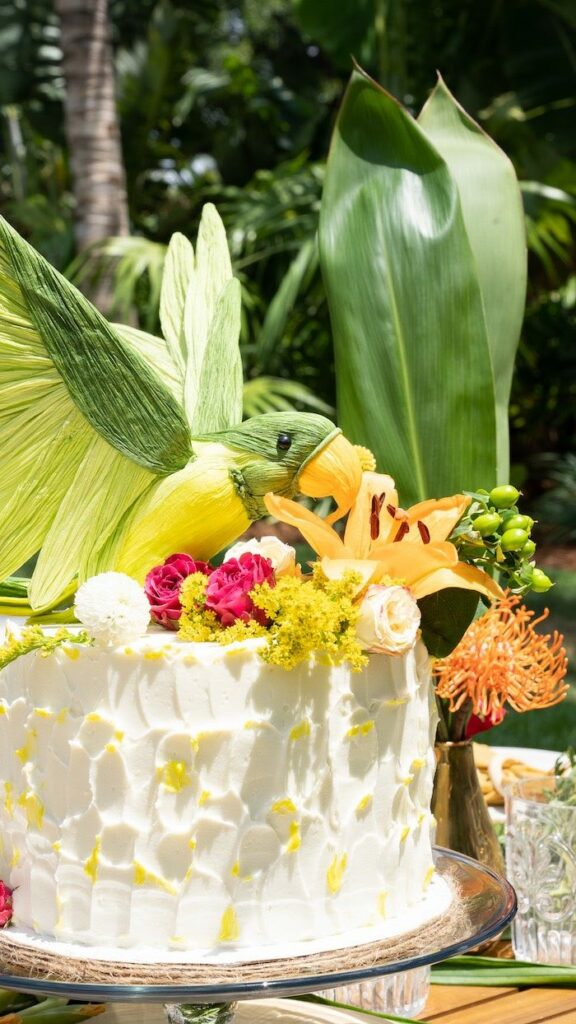 Parrot Cake from a Glam Tropical Backyard Pool Party on Kara's Party Ideas | KarasPartyIdeas.com