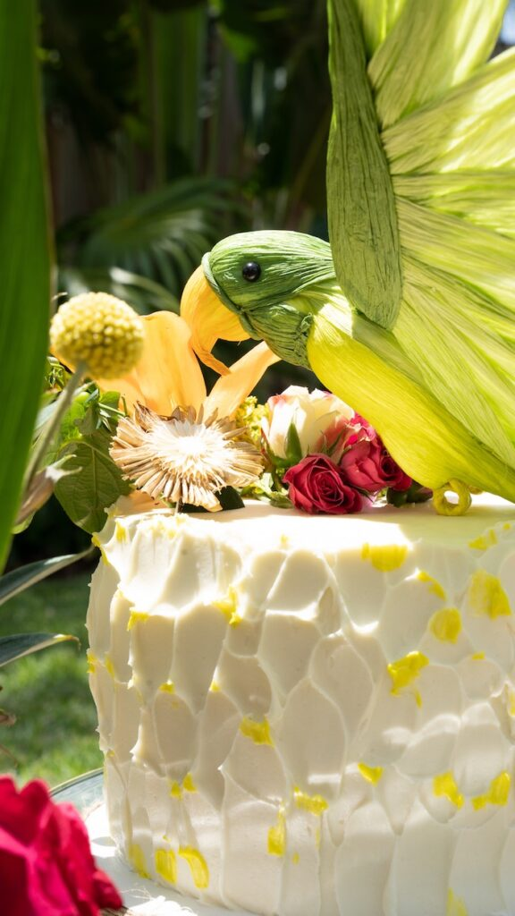 Tropical Parrot Cake from a Glam Tropical Backyard Pool Party on Kara's Party Ideas | KarasPartyIdeas.com