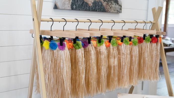 Grass Skirts from a Glam Tropical Backyard Pool Party on Kara's Party Ideas | KarasPartyIdeas.com