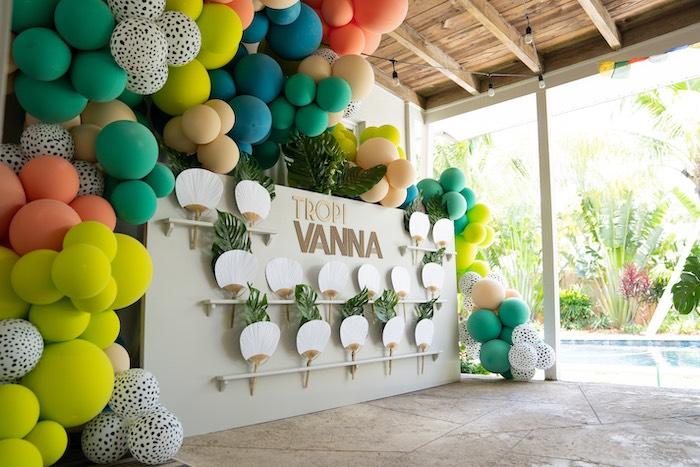 Tropical Fan Wall from a Glam Tropical Backyard Pool Party on Kara's Party Ideas | KarasPartyIdeas.com