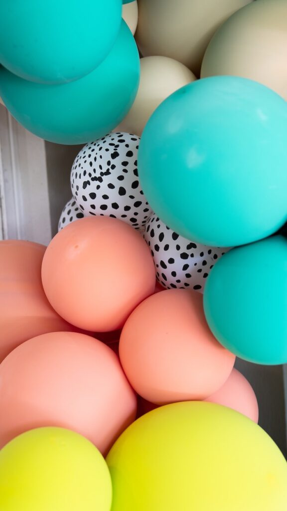 Balloon Install from a Glam Tropical Backyard Pool Party on Kara's Party Ideas | KarasPartyIdeas.com