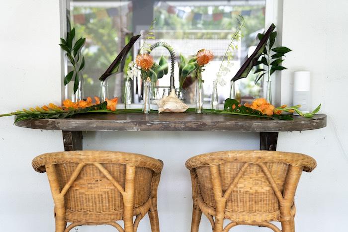 Tropical Beverage Bar from a Glam Tropical Backyard Pool Party on Kara's Party Ideas | KarasPartyIdeas.com