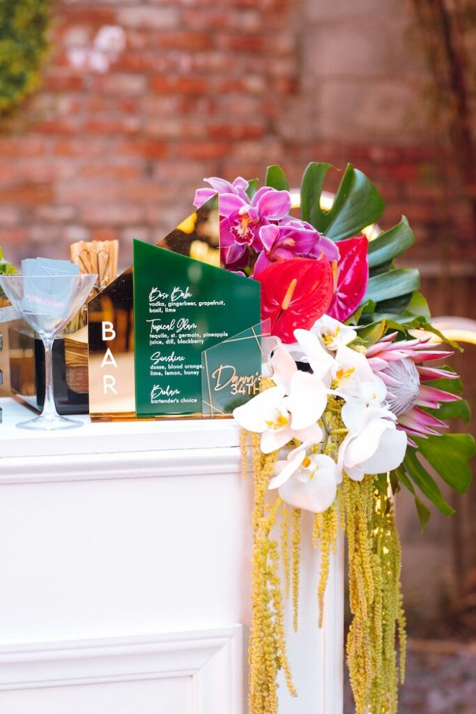 Tropical Bar with Acrylic Signage from a Glam Tropical Birthday Party on Kara's Party Ideas | KarasPartyIdeas.com