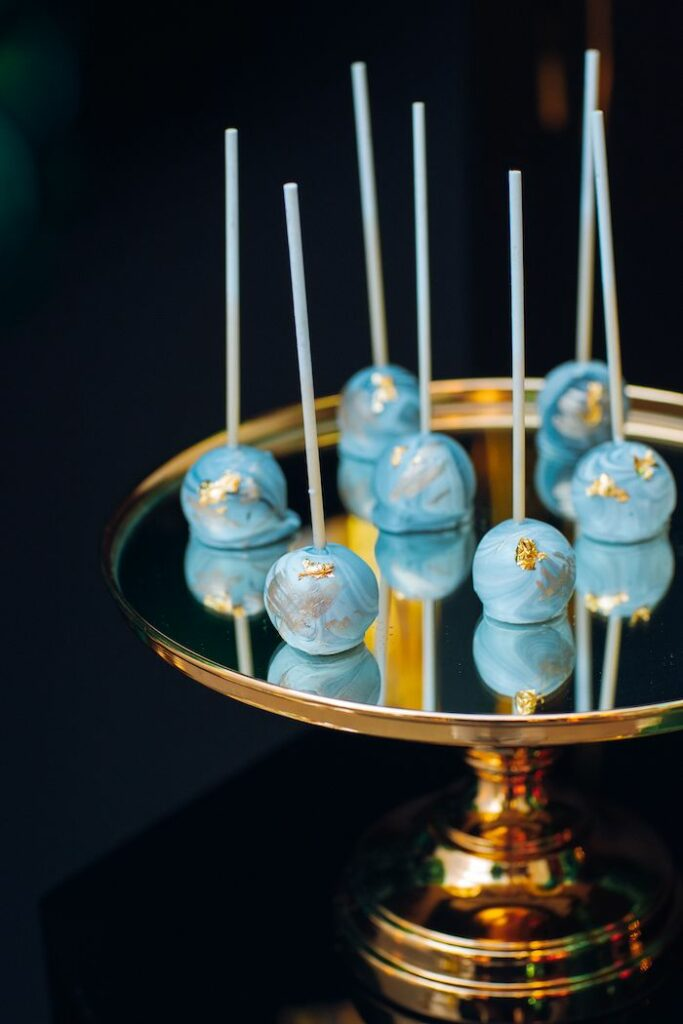 Glam Blue Cake Pops from a Glam Tropical Birthday Party on Kara's Party Ideas | KarasPartyIdeas.com