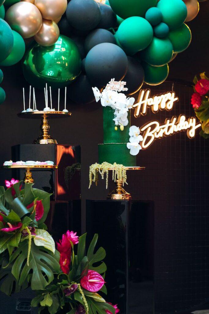 Tropical Dessert Spread from a Glam Tropical Birthday Party on Kara's Party Ideas | KarasPartyIdeas.com