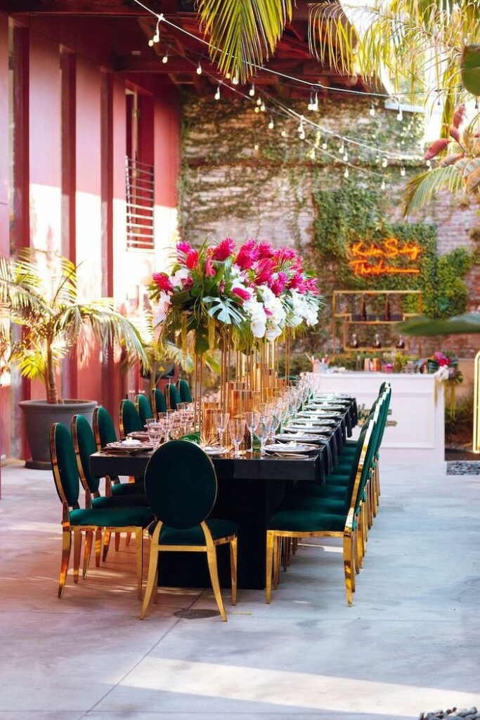 Glam Tropical Guest Table from a Glam Tropical Guest Table from a Glam Tropical Birthday Party on Kara's Party Ideas | KarasPartyIdeas.com