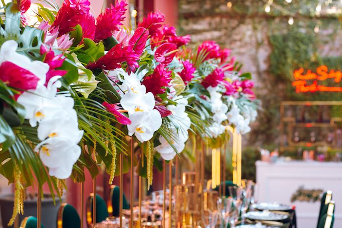 Tropical Florals from a Glam Tropical Birthday Party on Kara's Party Ideas | KarasPartyIdeas.com