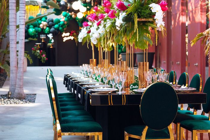Glam Tropical Guest Table from a Glam Tropical Birthday Party on Kara's Party Ideas | KarasPartyIdeas.com