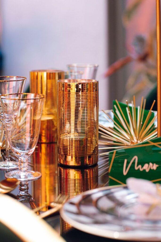 Gold Centerpiece from a Glam Tropical Birthday Party on Kara's Party Ideas | KarasPartyIdeas.com