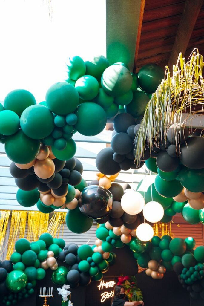 Green Balloon Install from a Glam Tropical Birthday Party on Kara's Party Ideas | KarasPartyIdeas.com