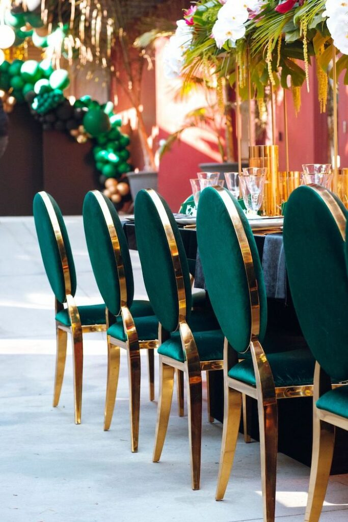 Green Gold-rimmed Chairs from a Glam Tropical Birthday Party on Kara's Party Ideas | KarasPartyIdeas.com