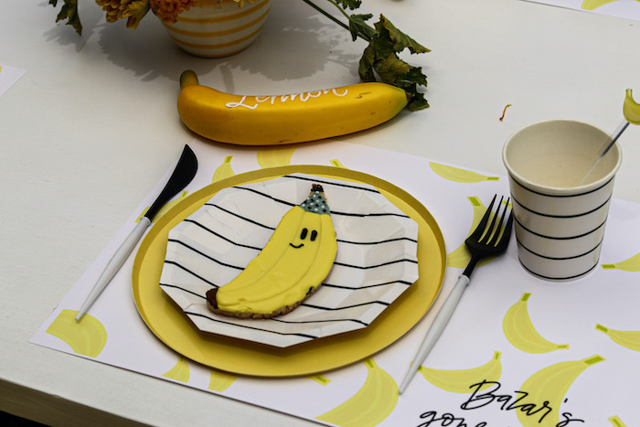 Banana Cookie + Table Setting from a Gone Bananas Birthday Party on Kara's Party Ideas | KarasPartyIdeas.com