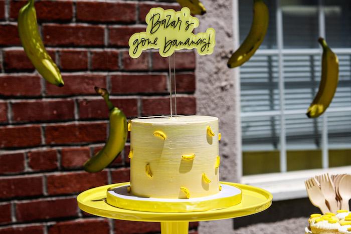 Banana Themed Cake from a Gone Bananas Birthday Party on Kara's Party Ideas | KarasPartyIdeas.com