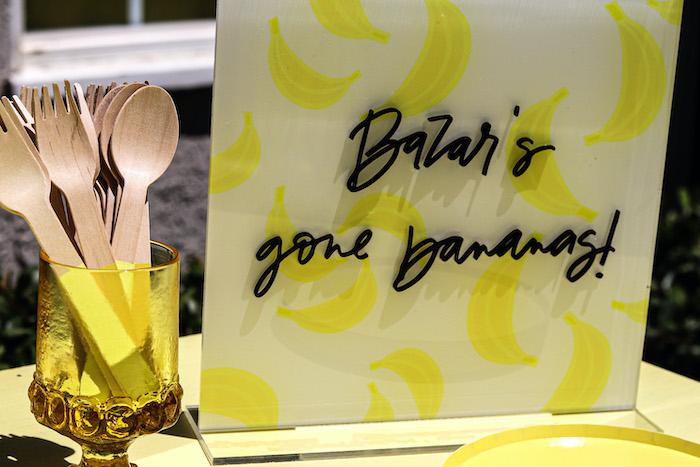 Acrylic Gone Bananas Sign from a Gone Bananas Birthday Party on Kara's Party Ideas | KarasPartyIdeas.com