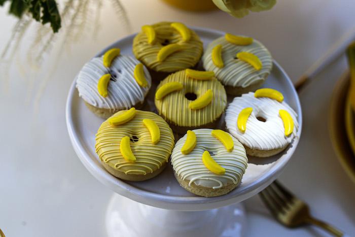 Banana Themed Donuts from a Gone Bananas Birthday Party on Kara's Party Ideas | KarasPartyIdeas.com