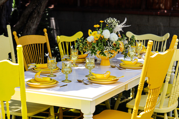 Banana-inspired Guest Table from a Gone Bananas Birthday Party on Kara's Party Ideas | KarasPartyIdeas.com