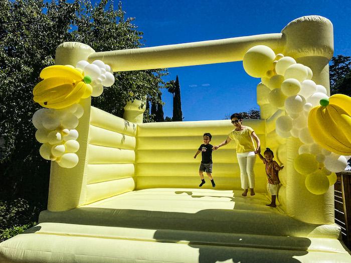 Banana Bounce House from a Gone Bananas Birthday Party on Kara's Party Ideas | KarasPartyIdeas.com