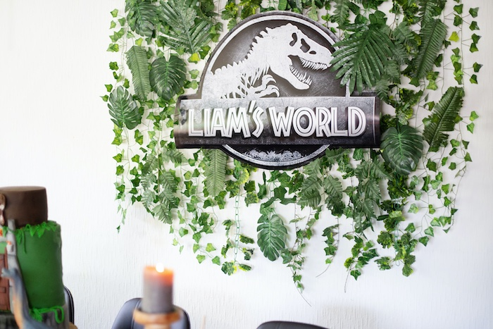 Custom Jurassic World Greenery Backdrop from a Jurassic World Dinosaur Birthday Party on Kara's Party Ideas   KarasPartyIdeas.com