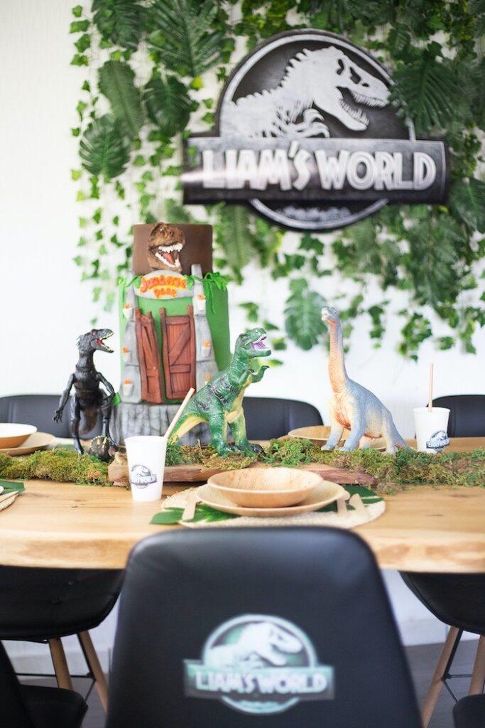 Jurassic World-inspired Dinosaur Kid Table from a Jurassic World Dinosaur Birthday Party on Kara's Party Ideas   KarasPartyIdeas.com